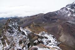 Der ganze Grat, den wir aufgestiegen sind: Man sieht bis zur Schutzhütte Nuevos Horizontes