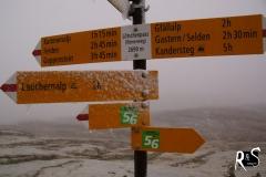 Auf dem Lötchenpass angekommen - dem Schneegestöber knapp entkommen!