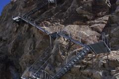 die berühmt-berüchtigte Konkordia-Treppe, welche jedes Jahr um 3m verlängert werden muss!