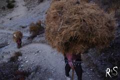 Selbst diese ältere Menschen tragen noch erhebliche Lasten in ihr Dorf
