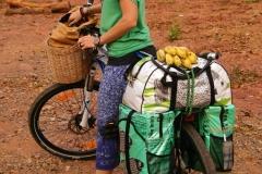 Bei einem Dorflädeli endlich Frühstück gefunden - ein Bund Bananen, leider mit schwarzen Kernen, die uns nicht munden..