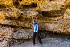 an extraordinary strong cave man!