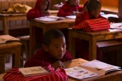 little monks learning tibetan language..