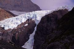 Nahaufnahme des Gletscherabbruchs