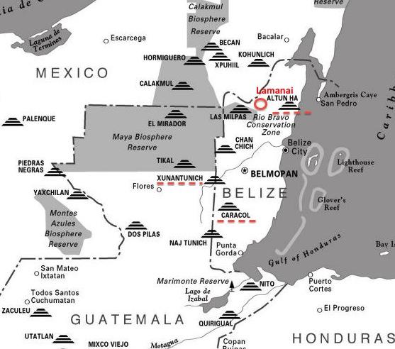 Mayan Archaeological sites in Belize: die rot markierten haben wir bereits besucht
