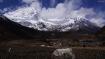 das Dorf Samagaon und im Hintergrund der Naike Himal (darunter liegt das Base Camp zum Manaslu)