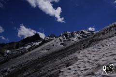 Rückblick auf den Ochsentaler Gletscher, irgendwo im oberen Teil des unteren Abbruchs.