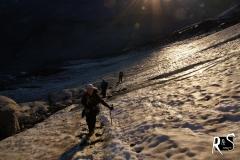 Im Einstieg zum Ochsentaler Gletscher. Sunrise over the Ice!