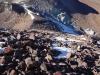 Aufstieg über rutschiges Gestein, danach über Schneefelder (Firn)