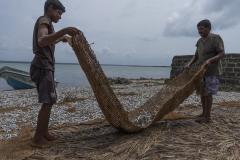 der getrocknete Fischfang wird eingebracht