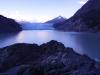 Blick zum Glaciar Grey in der Morgendämmerung