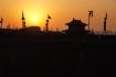Der Sonnenuntergang im eiskalten Xi'an. Es war vermutlich ein paar Grad unter Null...