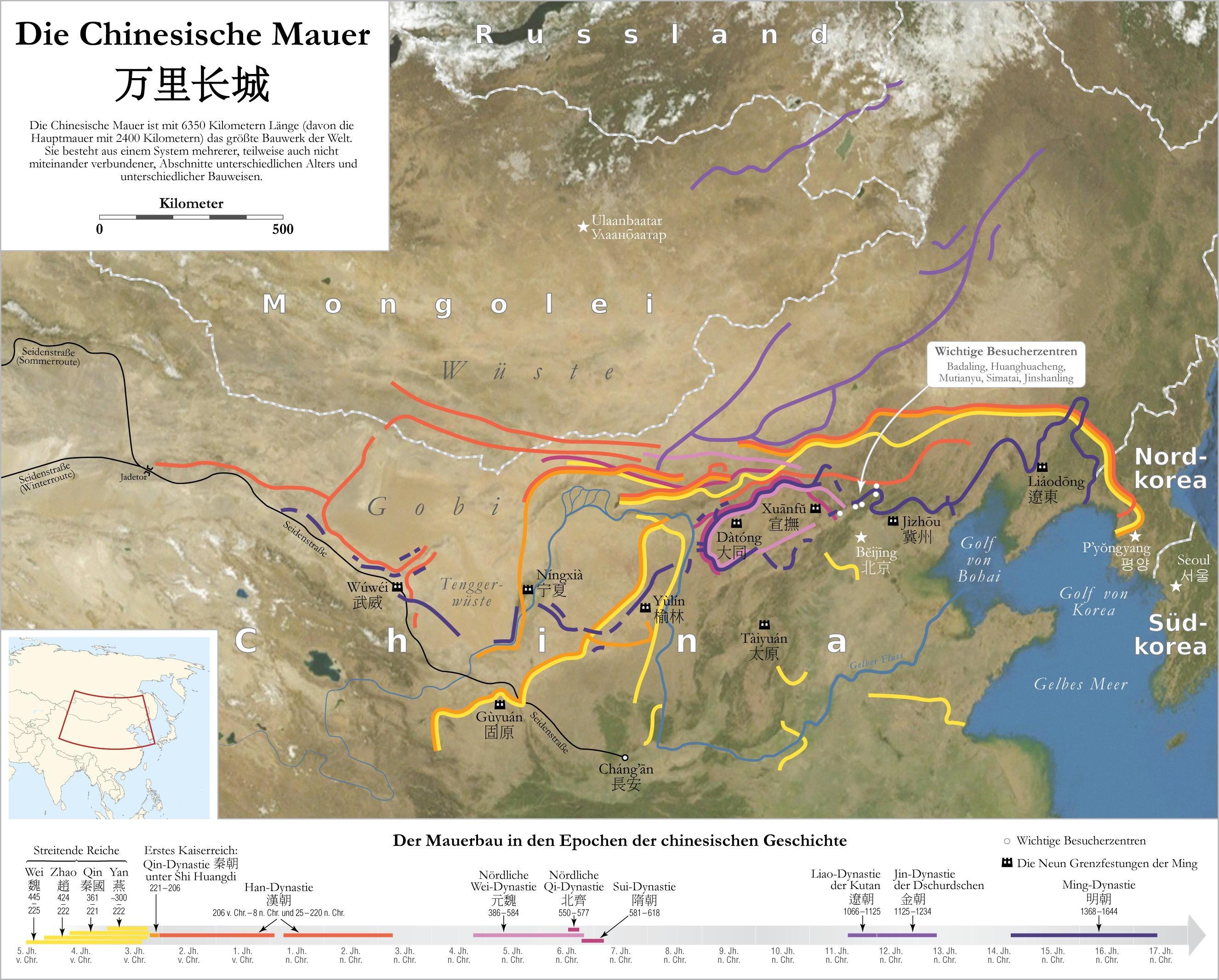 Die Ausmasse der Grossen Mauer Quelle: wikipedia