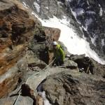 In den ersten paar Meter vom Nordgrat des Lagginhorns