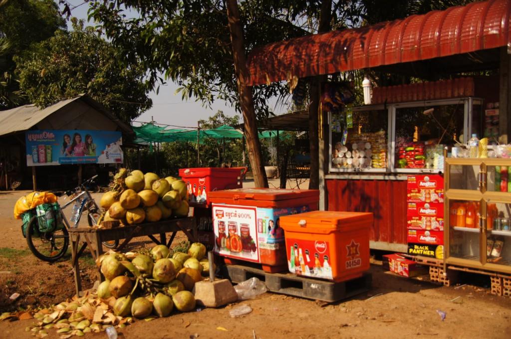 Verschnaufpause bei einem Dorfstand, wie es sie oft gibt.. 2 Kokosnüsse retten uns vor drohender Dehydration - bereits um 9.00 ist es heiss wie in der finnischen Sauna - gell Bootsy! ;-)