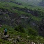 Sarah im Aufstieg, die Weiden sind geschmückt mit schönen Blumen. Der Juni ist stets einer der schönsten Monate im Alpenland, jedenfalls was die Vegetation angeht.