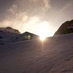 Sonnenaufgang, wir bereits auf dem Chilchli-Gletscher