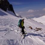 Abfahrt zurück zur Wildhornhütte - leider wurde der Pulverschnee vom Wind weggefegt..