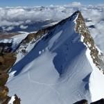 Nordend 4609m und unsere Abstiegsspur über den Gornergletscher zur Monte-Rosa-Hütte SAC