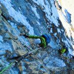 Im Aufstieg via kurzer Teil der Nordwand zum unteren Dach des Matterhorns